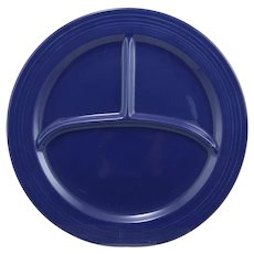 Vintage Fiesta Pottery Compartment Dinner Plate in Cobalt Blue Glaze