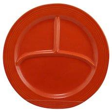 Vintage Fiesta Pottery Compartment Dinner Plate in Orange Glaze