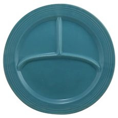 Vintage Fiesta Pottery Compartment Dinner Plate in Turquoise Glaze