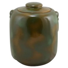 Frankoma Scarce Cookie Jar In Prairie Green Glaze Ada Clay c1933-1954