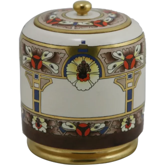American Satsuma China-Painted Covered Jar in Arts &Crafts/Art Deco Gilded Decoration