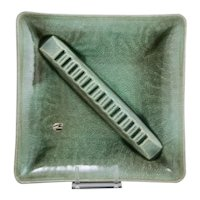 "Royal Haeger 14"" Mid-Century Modern Ashtray in Green Crackle Glaze c1960"