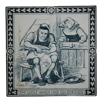 "MAW & Co. 6"" Tile c1880 'Aesop's Fables: Goose/Golden Eggs' Designed By Murray"