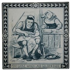 """MAW & Co. 6"""" Tile c1880 'Aesop's Fables: Goose/Golden Eggs' Designed By Murray"""