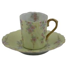 Vintage Porcelain Demitasse Cup and Saucer with Stunning Decoration/Gilt c1920