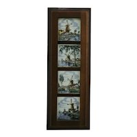 Dutch 4-Tile Framed Set of Windmill Scenes from Holland by Veda