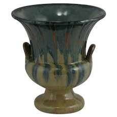 "Fulper 7"" Pedestaled Urn/Vase 1929-1934 In Cat's Eye Flambe Glazes Shape 4018"
