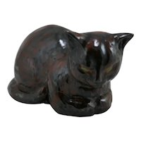'V' Ceramics by Haynes 'Resting Cat' Hand Built Figural Feline Dated 1949