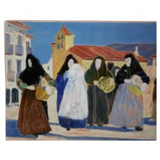 Daniel Zuloaga, Madrid Faience Tile c1908-1915 Christening/Baptism in Segovia