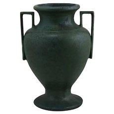"Hampshire 11"" Arts & Crafts Vase In Killer Matte Green W/Boxy Handles"