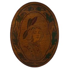 Flemish Art Co. NY Pyrography Plaque of a Native American Indian Maiden c1905