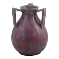 Awaji Pottery 3-Handle Vessel in Lavender/Rose and Blue Glazes c1880-1939