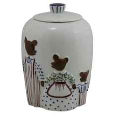 Abingdon Pottery Three Bears Covered Cookie Jar c1940s