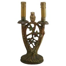 Weller Muskota Owl In An Apple Tree Original Lamp W/Skirted Double Candlesticks