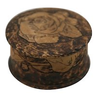 Flemish Art Co. NY Pyrography Wooden Round Box with Rose Motif c1910