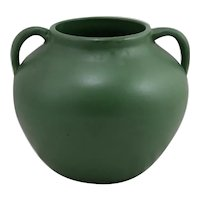 Zanesville Stoneware Co. Arts & Crafts Handled Ball Vase in Rich Matte Green