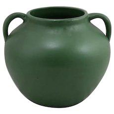 Zanesville Stoneware Co. Arts & Crafts Handled Ball Vase in Rich Matte Green