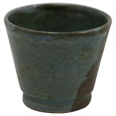 Saturday Evening Girls S.E.G./Paul Revere Miniature Egg Cup in Blue/Brown Glazes by Artist S.S.