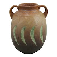 "Roseville Falline 7.25"" Vase In Mottled Amber/Chocolate Frosted Glaze 647-7"