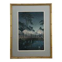 Tsuchiya Koitsu (1870-1949) 'Benkei Bridge at Night' Series: Sketches of Famous Places in Japan