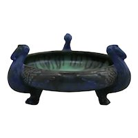 Fulper Ibises Bowl In Blue/Charcoal Matte/Flambe Glazes