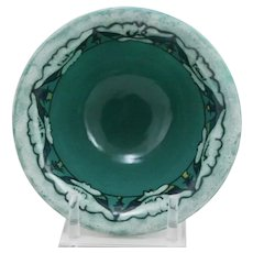Paul Revere Pottery/S.E.G. Flared Bowl w/Lotus Blossoms Band Turquoise/Blue/White