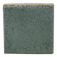 Grueby Pottery Tile in Organic Mat Blue Glaze Lotus Flower Mark