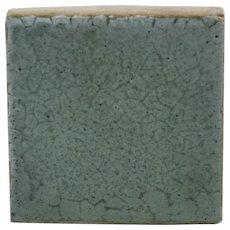 Grueby Pottery Tile in Organic Mat Blue Glaze Lotus Flower Mark