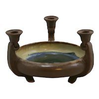 "Fulper 6.5"" x 9.5"" Candlestem Footed Bowl c1909-1917 Frothy Brown/Blue Glazes"