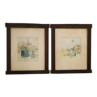 Gustav Stickley Custom Oak Matching Wood Frames  c1904-1906/7 Henri Cassiers Artwork