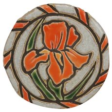 Mid-Century Art Pottery Coasters Set of Four with Carved Iris Motif in Orange/Oyster Glazes
