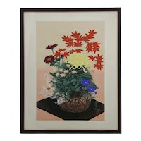 Bakufu Ohno (1888-1976)  'Autumn Flowers in Bamboo Basket'