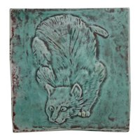 Contemporary Skulking Cat Tile in Satin Mat Teal Blue/Plum Glazes