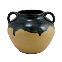 Zanesville Stoneware Co. Arts & Crafts Handled Ball Vase in Black/Yellow Drip Glazes