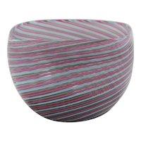Mid-Century Modern Italian Murano Cenedese Filigrana Square Art Glass Bowl c1960-70