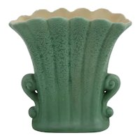 RumRill Pottery Fluted Pillow Vase in Great Geranium Green Glaze c1938