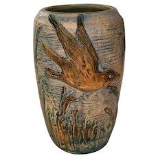 """Weller Glendale 7"""" Vase W/Tern Protecting Her Nest On Marshy Landscape"""