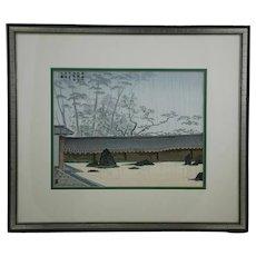 (Unread Mid-Century Modern Artist) 'Ryoanji Temple in Spring Rain' Zen Rock Garden in Kyoto
