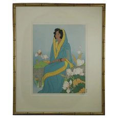 Paul Jacoulet (1896-1960)  'La Poetesse, Indienne' (The Poetess, India)