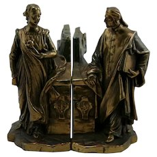 Paul Mori 'Dante and Beatrice' Figural Polychrome Bookends Dated 1915