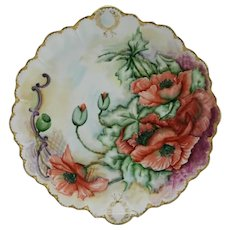 China-Painted Charger by Haviland France with Poppies Gilded Motif Dated 1902