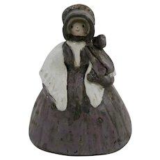 Overbeck Pottery Pilgrim/Quaker Lady in Purple Dress c1911-55