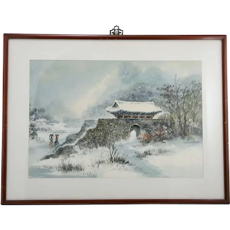 Hoe Won, Korean (Mid-Century c1950s-60s) 'Pastoral Snow Scene with Women Walking by a Temple Gate'