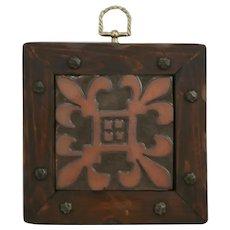Mercer Moravian Tile 'Fleur de Lis' Handsomely Framed in Wood with Metal Accents