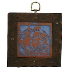 Mercer Moravian Tile 'Masted Ship' Handsomely Framed in Wood with Metal Accents
