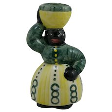 Shearwater Pottery Folkart Woman With Basket Figural c1980s