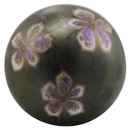 "Orient & Flume 2"" x 2.75"" Paperweight with Sweet Purple Blossoms 1975 in Iridized Bronze Colors Mint"