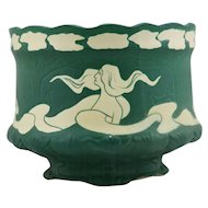 "Early Brush McCoy Navarre 8.25"" x 10"" Jardiniere 1914 L'Art Nouveau Woman in Rich Matte Green"