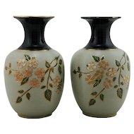 """Lovatt & Lovatt 8"""" Pair Of Vases Langley Mill Pottery England c1920s Mint"""