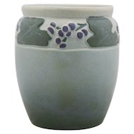 "Owens Matt Lotus Ware 6"" Vase with Vineyard Grapes/Leaves Motif"